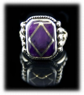 Inlay Sugilite Mens Ring