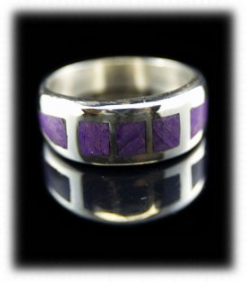Sugilite Mens Silver Bands