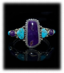 Sugilite with Morenci Turquoise Bracelet