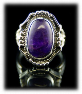 Quality Navajo Silver Ring with Sugilite Gemstone