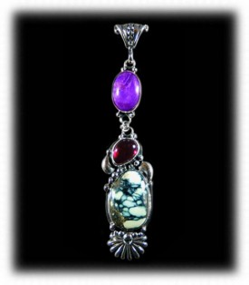 Sugilite and Gemstone Pendant