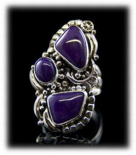 Here is a handmade Sterling Silver and Three Stone Sugilite Ring