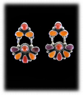 Sugilite and Spiny Oyster Chandelier Earrings - Navajo Handcrafted