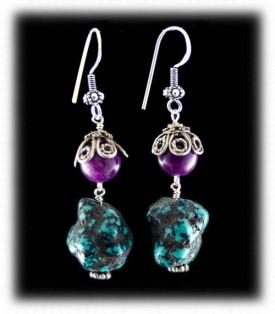 Sugilite and Tibetan Turquoise Bead Chandelier Earrings