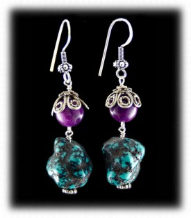 Sugilite and Turquoise Nugget Beaded Earrings