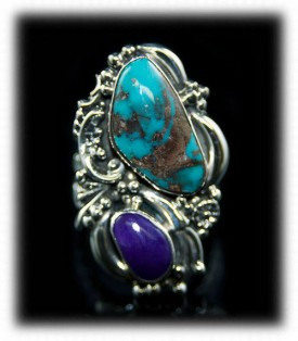 Sugilite and Bisbee Turquoise Ring