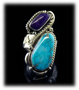 Sugilite and Sleeping Beauty Turquoise Ring