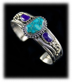 Morenci Turquoise and Sugilite Bracelet