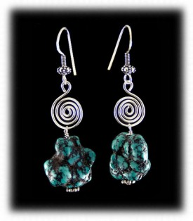Nugget Turquoise Bead Earrings
