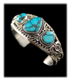 Tibetan Turquoise Bracelet - Blue Spiderweb Turquoise