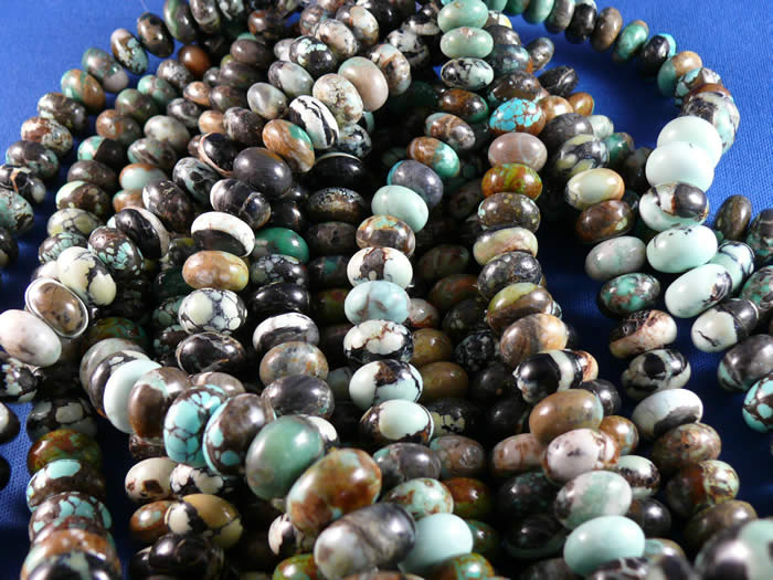 "Natural Tortoise turquoise ""boulder"" cut roundel beads"