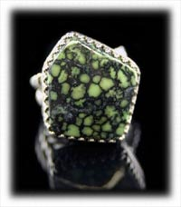Tortoise Spiderweb Lime Turquoise Ring