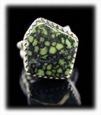 Tortoise Spiderweb Lime Turquoise Ring