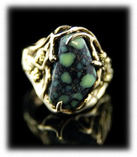 Tortoise Turquoise Gold Ring
