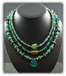 Tortoise Turquoise Beaded Treasure Necklace