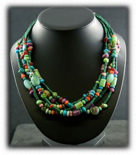 Treasure Necklace with Turquoise and Gemstone Beads