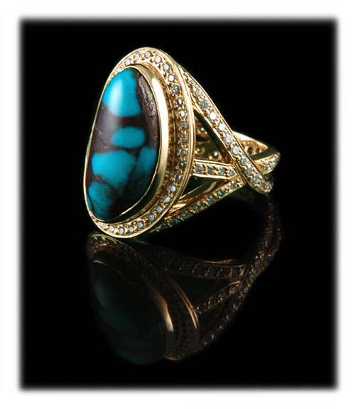 Turquoise And Diamonds In Gold Jewelry