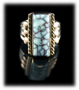 Here is a really beautiful handmade Turquoise Gold Ring with natural Dry Creek or Sacred Buffalo Turquoise from Nevada