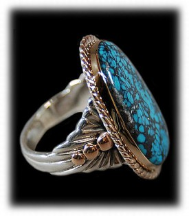 Here is a Turquoise Gold Ring with rare natural Blue Wind Turquoise from Nevada, this is a great example of our high end rings