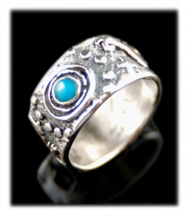 Handmade Sterling Silver and  Turquoise Ring Band by John Hartman