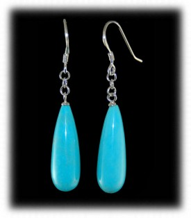 Blue Turquoise Teardrop Bead Earrings