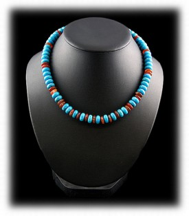 Turquoise and Carnelian Beaded Necklace
