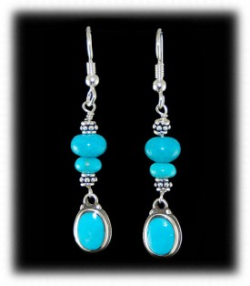 Blue Turquoise Beaded Dangle Earrings