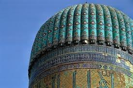 Turquoise roofted Mosque in Uzbekistan