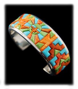 American Indian Inlaid Silver Bracelet with Green Turquoise Hue