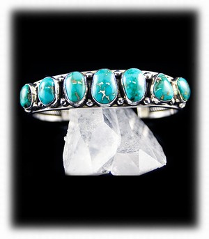 Navajo Handcrafted Turquoise Row Bracelet