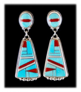 Sleeping Beauty Turquoise Mediterranean Coral Inlay Dangle Earrings