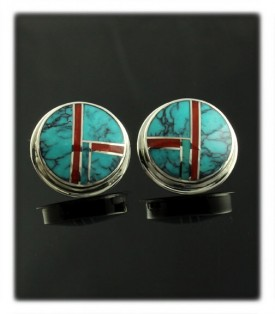 Turquoise and Coral Inlay Stud Earrings