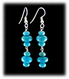 Turquoise Dangle Beaded Earrings by Nattarika
