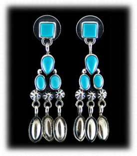Navajo Handcrafted Turquoise Earrings
