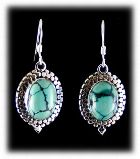 Silver Dangle Earrings with Turquoise