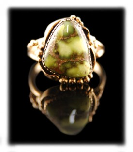 Handmade 14k ring with top gem grade Damele from Austin, Nevada USA