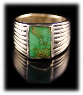 Mens Rings in gold featuring natural American Turquoise