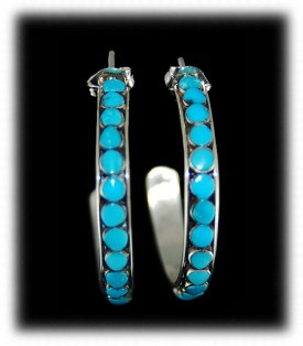 Turquoise Hoop Earrings - Zuni Handcrafted Earrings