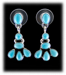 Turquoise Earrings-Navajo Indian Silver Jewelry