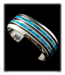 Inlaid Turquoise Silver Bracelet - Native American Indian handmade