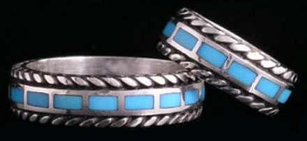 Inlaid Turquoise Wedding Ring Silver Bands