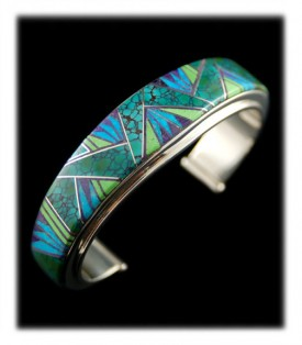 Native American Inlay Bracelet in Turquoise and Green Gaspeite