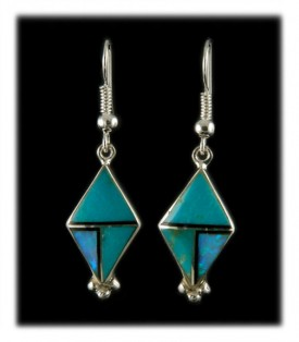 Turquoise Inlay Dangle Earrings