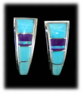 Sugilite and Turquoise Inlaid Earrings