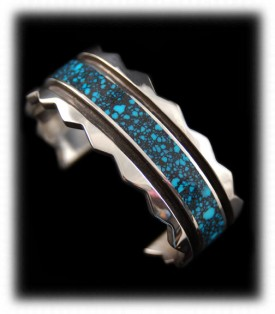 Silver Bracelet inlaid with Spiderweb Turquoise
