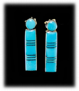 Turquoise Inlay Earrings - Zuni Handcrafted