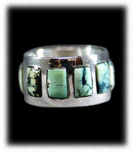 Tortoise Turquoise Inlaid Silver Ring