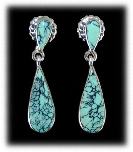 Spiderweb Turquoise American Indian Earrings