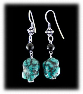 Blue Turquoise Nugget Bead Earrings