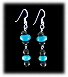 Black Onyx with Blue Turquoise Beaded Earrings